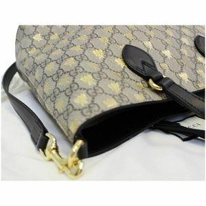 Gucci Bags - GUCCI GG Supreme Bees Monogram Tote Bag Black/Gold